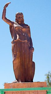 A statue of Kahina, a seventh century Berber warrior who fought back the Arab invasion of Algeria